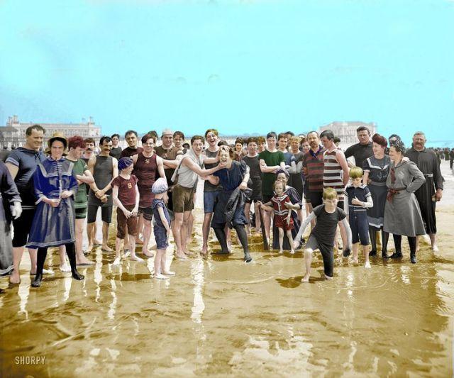 "The Jersey Shore, circa 1905. ""On the beach, Atlantic City."""