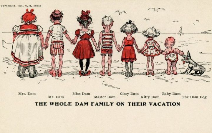 """The Whole Dam Family on Their Vacation. Mrs. Dam, Mr. Dam, Miss Dam, Master Dam, Cissy Dam, Kity Dam, Baby Dam, The Dam Dog. Copyright, 1905, W. G. Kress"