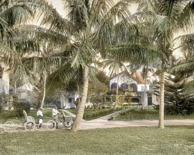 West Palm Beach, 1910. Two taxis waiting to serve members of a beach club.