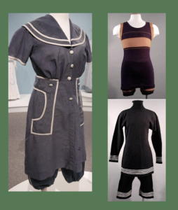 BEACH WEAR - Women: Turn of the century bathing costume | Men: The swim suit as it would look in 1919; and the turn of the century style (bottom). It should be noted that what appears as black clothing in photos may be dark navy or purple.
