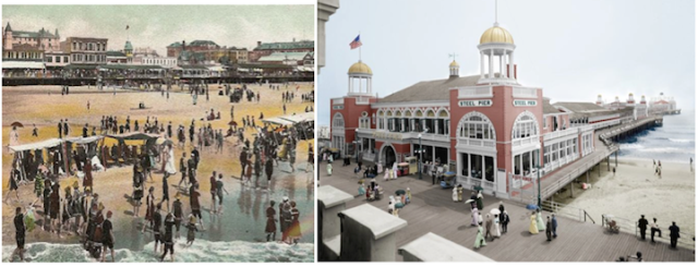 ATLANTIC CITY Beach Scene - about 1905. Shaded canvas chairs and swings became very popular to protect the women from the sun. Photo taken from Steel Pier, 1905   |   Pleasure Pavilion (Colorized): The Jersey Shore, circa 1910. Steel Pier, Atlantic City.