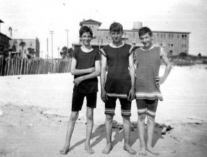 Boys on the beach - DAYTONA BEACH, Florida, c. 1915 Their swimwear was made of wool.