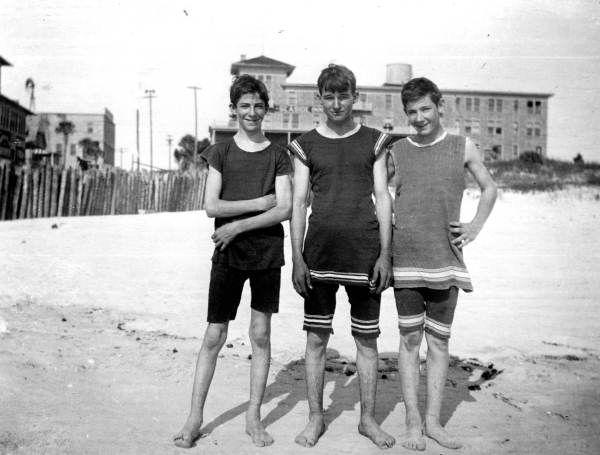 Boys on the beach - DAYTONA BEACH, Florida, c. 1915 Their swimwear was made of wool.