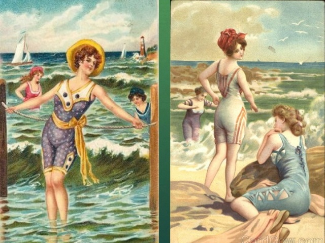 Bathing beauties in the surf and on the sand.