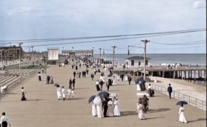 JERSEY SHORE, on a spacious, uncrowded boardwalk in 1905.