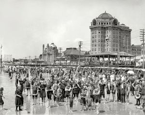 irca 1906, ATLANTIC CITY bathers peering a century into the future. Hotel Traymore and Brady's Baths.