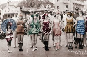 REDONDO BEACH with Elks Club. Partially colorized to show all bathing costumes were not black and white.