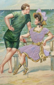 Bathing beauty vintage postcard .01 ~ When Postcards Were the Social Network