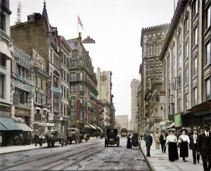 STREETSCAPE: Shorpy Historic Picture Archive - Bustling Broadway (Colorized): 1910 high-resolution photo