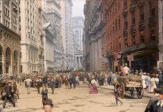 STREET SCENE: Curb Market outside the New York Stock Exchange. Curb Market: a stock market for trading in securities not listed on the New York Stock Exchange
